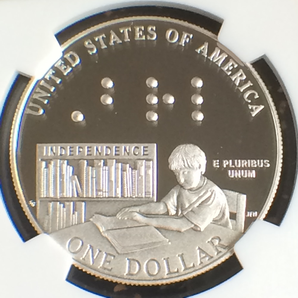 US 2009 P Louis Braille Silver Dollar ( S$1 ) - Reverse